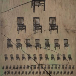 Chairs, 36 by 24 inches, acrylic, charcoal and graphite on wood, 2016