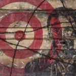 Freedom... 24 by 36 inches, encaustic, oil paint, charcoal, barbed wire and beetle replica collage on wood, 2014