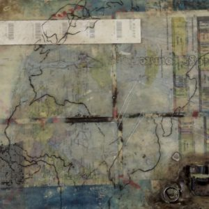 Cutting Edge, 9 by 12 inches, encaustic, oil paint, charcoal, paper, mesh and metal collage on wood, 2015