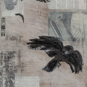 Flying, Falling, 12 by 9 inches, acrylic, charcoal, paper, image transfers, graphite and metal collage on wood, 2018